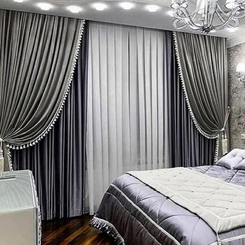 Серые шторы для спальни, Самара, пошив на заказ